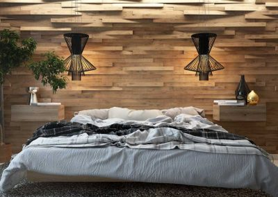 bedroom-with-textural-wood-wall-panels